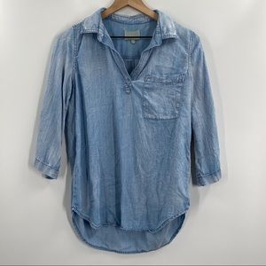 Skies are Blue-Alisson Chambray V-Neck Top